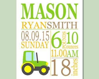 Tractor Birth Print,Trucks Nursery,Tractor Birth Announcement,Tractor Baby Gift,Tractor Decor,Tractor Nursery Wall Art-8X10 DIGITAL OR PRINT