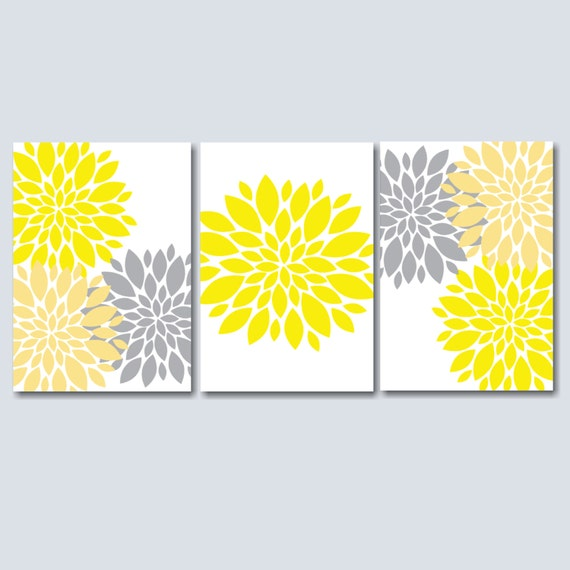 Yellow And Gray Bedroom Wall Decor : Yellow grey bedroom wall art floral