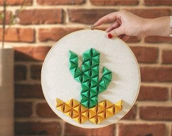 Hoop embroidery X Origami | Kaktus. Illustration Cactus | Original and artisanal decoration