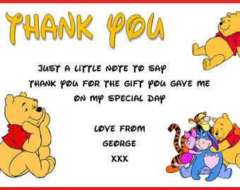 Winnie The Pooh, Tigger, Eeyore, Pigley Children's Birthday Party Invitations Hundred Acre Wood