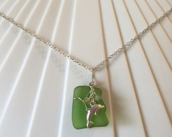 Green Seaglass Dolphin Necklace, Hawaiian Sea Glass, Silver Chain and Findings