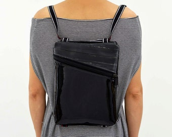 Black backpack shoulder bag////////BeesBag//ipad case made by hand//faux leather/rubber/bike//eco design//cruelty free