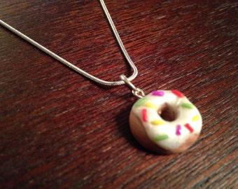 Vanilla Sprinkle Donut Charm Necklace