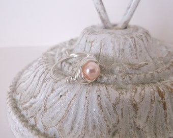 Wire Wrapped Ring, Light Pink Pearl Ring, Wire Wrapped Pearl Ring