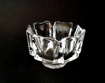 Vintage Orrefors Crystal Bowl - Orrefors Corona Bowl - Signed Orrefors Sweden - Lars Hellsten - Flower Bowl