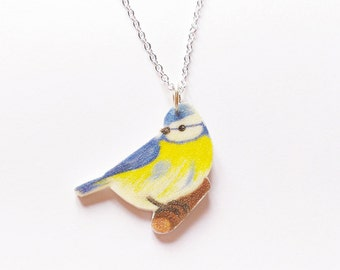Blue tit necklace-silver