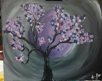 Acrylic painted trees
