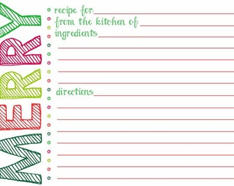 Printable Eat, Drink and be Merry Christmas Recipe Card