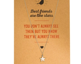 Greeting Card Necklace - Best friends are like stars: You don't always see them but you know they're always there