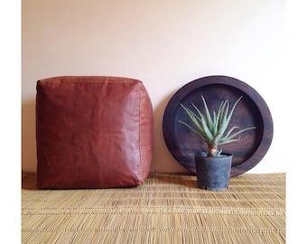 Square Moroccan Leather pouf/ottoman Size :