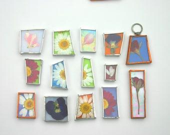 Glass Pressed Flowers Pendants