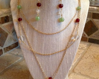 Gold jewelry set, gold necklace and earrings, gold tiered necklace