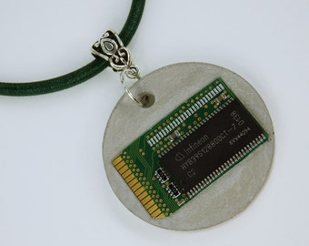 Necklace computer chip RAM concrete jewelry unique green computer Board on the dark green silk ribbon jewelry concrete jewelry art necklace
