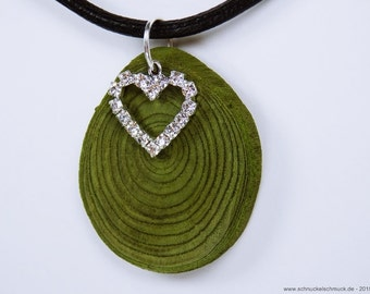Heart necklace made of green olive wood pendant with silver, glitzerdem heart