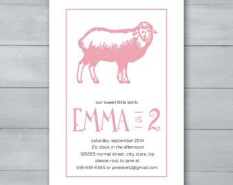 Sheep Birthday Party Invitation     Sheep Invite     Lamb Birthday Party Invitation     Lamb Invite