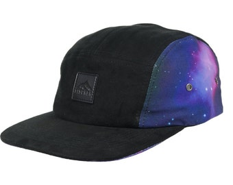 Cosmic space print and suede 5 panel cap