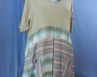 Recycled T-shirt, shirt tunic/dress beige and stripes