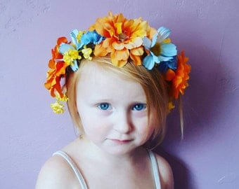 Beautiful Spring Floral Headpiece, fits toddler to adult
