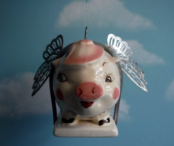 Flying Pig When Pigs Fly Vintage Piggy Bank Word Banner