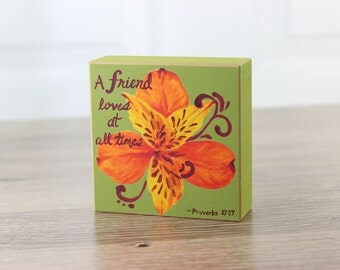 Friendship Block Art Orange Peruvian Lily Blossom Block