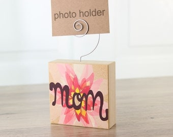 Mom Photo Holder Pink Day Lily Block Spring