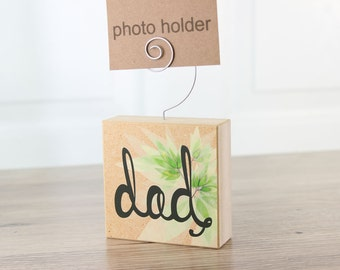 Dad Photo Holder Green Bamboo Block Spring