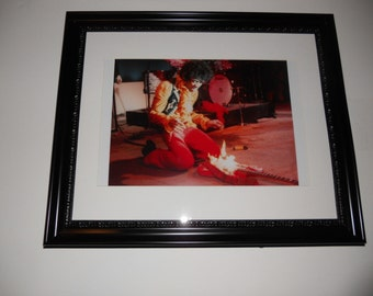 "Large Framed Jimi Hendrix Monterey Pop Festival Guitar on Fire 24"" by 20"""