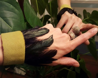 Lime Green Cuff with Black Petrol Feathers