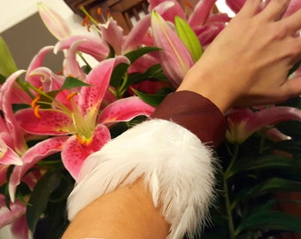 White Feather Red Leather Cuff - Reversible