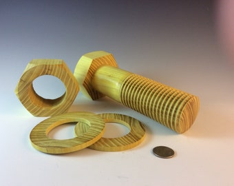 Wooden Nut and Bolt, Kansas Made, Fine woodturning