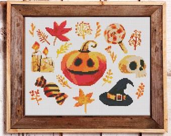 Halloween Modern Cross Stitch Pattern  // Instant PDF Download