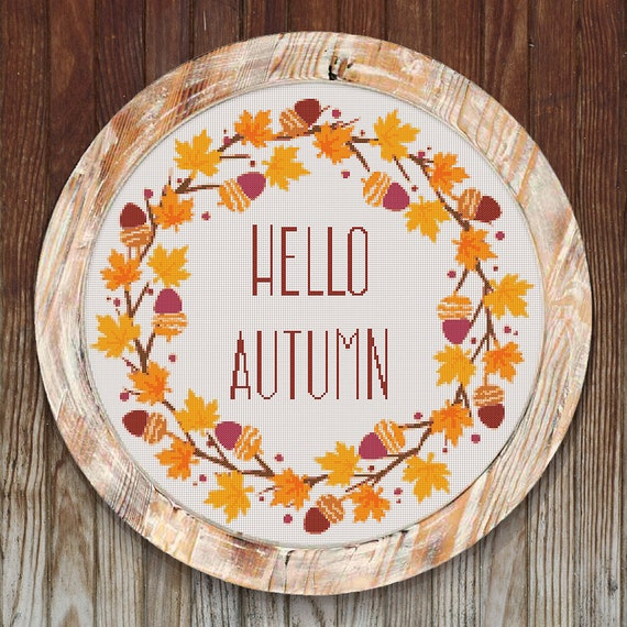 Hello Autumn Modern Cross Stitch Pattern Wreath // Instant PDF Download