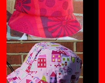 Sun Hat - Reversible Cotton - Red Multi - Pink Bike Skull - Size Extra Extra Large 60 cm