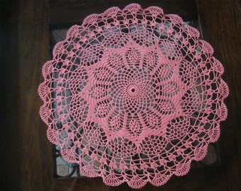 Hand crocheted pink doilie