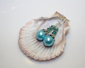 Blue Swarovski Pearl with Swarovski Aqua Beads Handmade 925 Steling Silver Hook Drop Earring