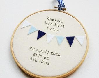 Personalised Birth Details and Bunting Wall Hanging - Naming Hoop