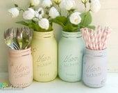 Easter Decor Utensil Holder Party Decor Vase Centerpiece Mason Jar Pastel Yellow Pink Purple Aqua
