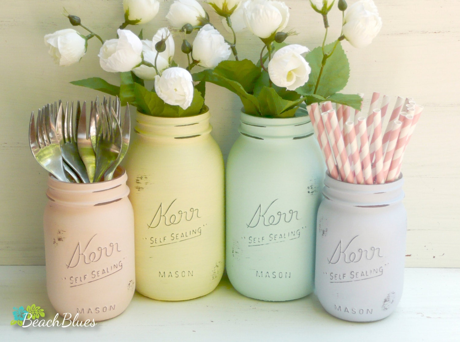 Easter Decor / Spring Decor / Centerpiece / Pastel / Home Decor / Painted Mason Jar / Table Decor / Vase / set of 4