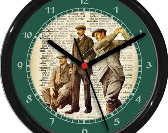 "Vintage Golf Threesome Personalized 10"" Wall Clock"