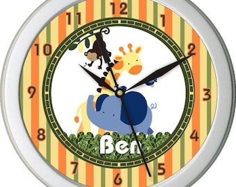 "Ark Animals Elephant Giraffe Monkies Personalized 10"" Nursery Wall Clock"