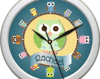 "Owls 1 Personalized 10"" Nursery / Child's Room  Wall Clock"