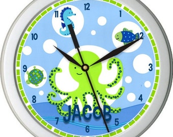 "Bubble Sea Creatures Personalized 10"" Nursery / Children Wall Clock"