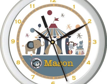 "Circus Act Personalized 10"" Nursery / Children Wall Clock"