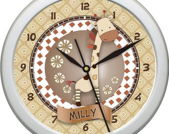 "Nali Giraffe Personalized 10"" Nursery / Children Wall Clock"