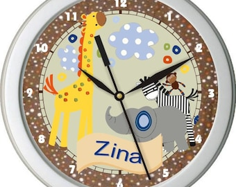 "S S Noah Ark Animals Personalized 10"" Nursery Wall Clock"