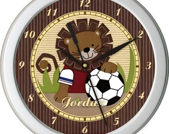 "Safari Soccer Personalized 10"" Nursery / Children Wall Clock"