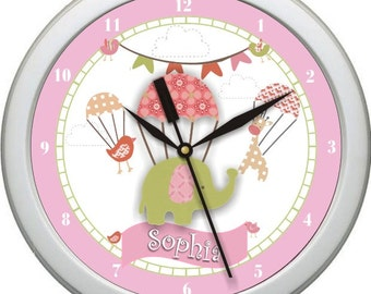"UP UP and Away Personalized 10"" Nursery / Children Wall Clock"