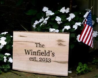 Custom, Wood Burned Family Established Sign