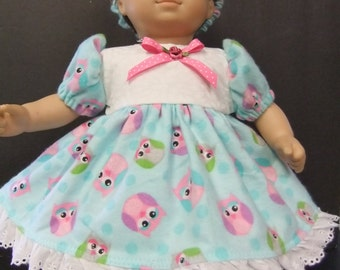 Doll clothes fit Bitty Baby or Bitty Twin GIRL; aqua flannel dress with pink and purple OWLS; panties & headband