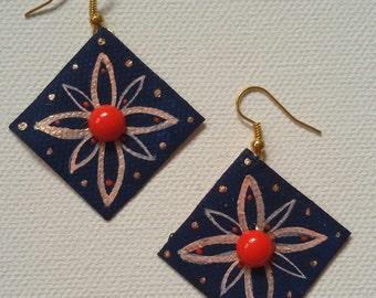 Painted canvas square earrings